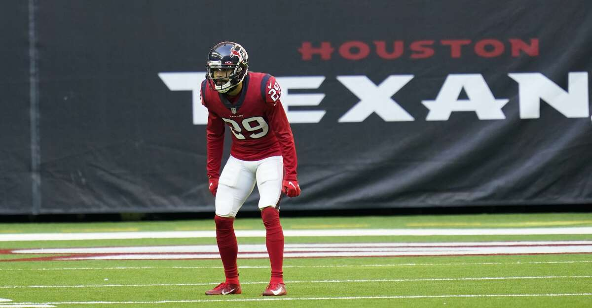 Houston Texans defensive back Phillip Gaines (29) lines up for the snap during an NFL football game against the Indianapolis Colts, Sunday, Dec. 6, 2020, in Houston. (AP Photo/Matt Patterson)