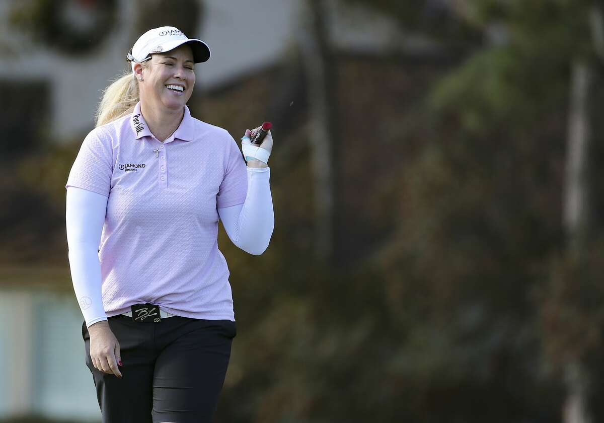 Brittany Lincicome smiles after finishing the 14th hole of the Jackrabbit Course during the first round of the U.S. Women's Open at Champions Golf Club in Houston on Thursday, Dec. 10, 2020.