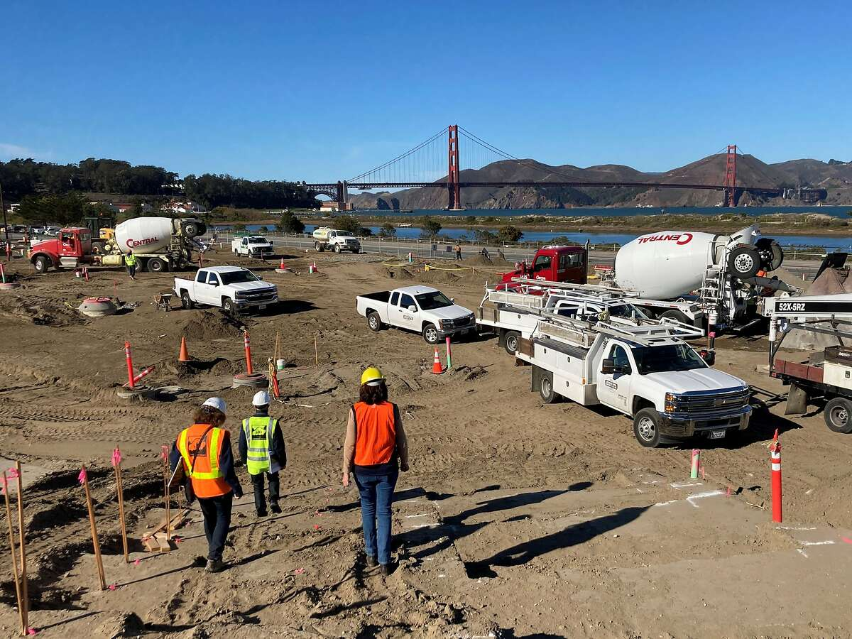 Construction workers at Tunnel Tops Park. When it opens next fall, the sculpted bluff will offer 14 acres of new parkland in San Francisco's Presidio.