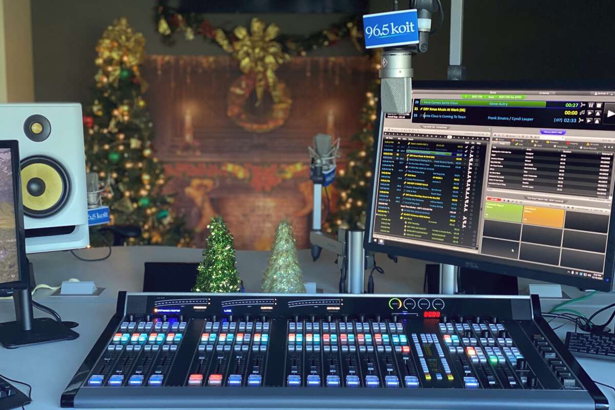 A view of the 96.5 KOIT studio in Daly City. KOIT has continuously played nonstop Christmas music since 2003.