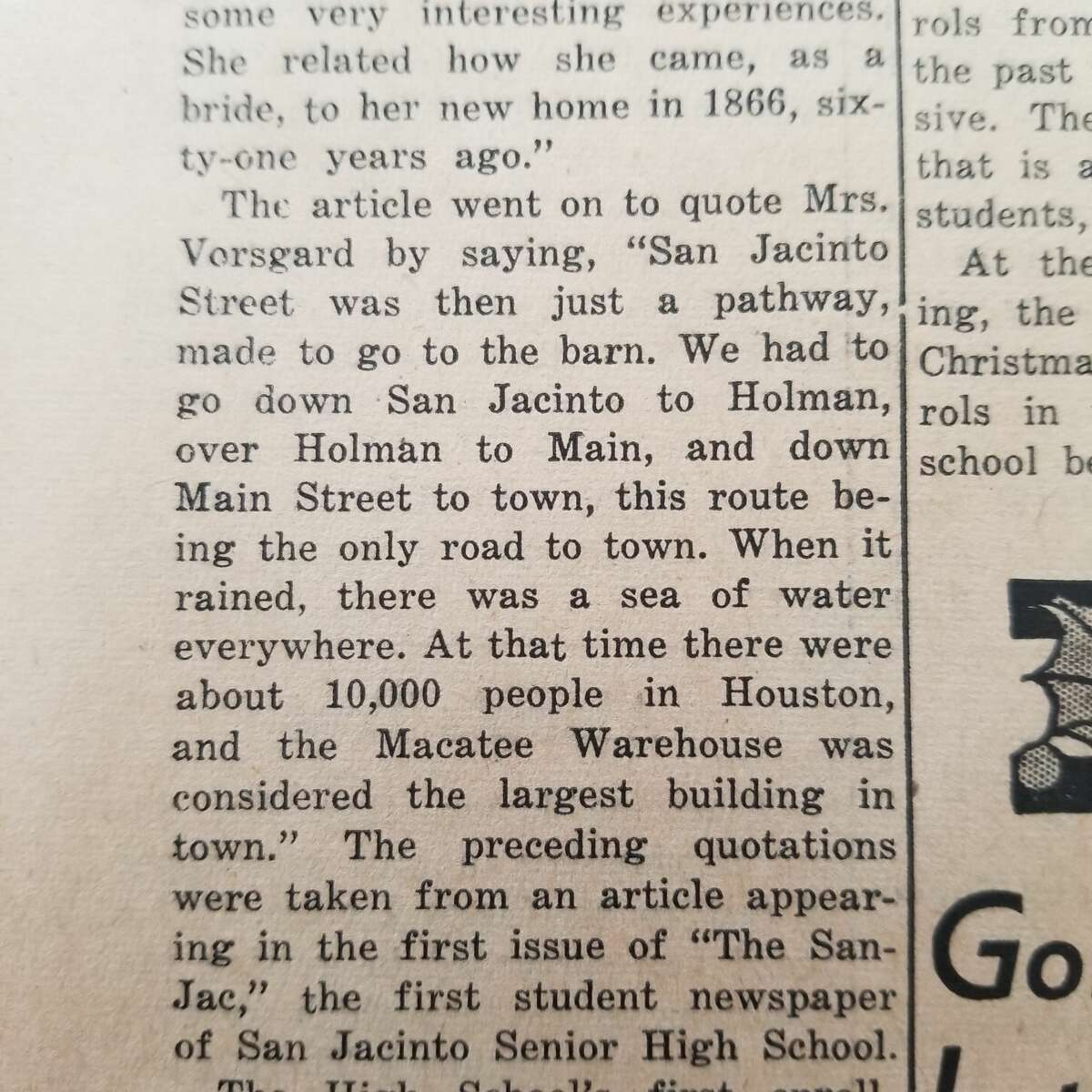 Excerpt from Dec. 20, 1946, San Jacinto Star, the student newspaper of San Jacinto High School.
