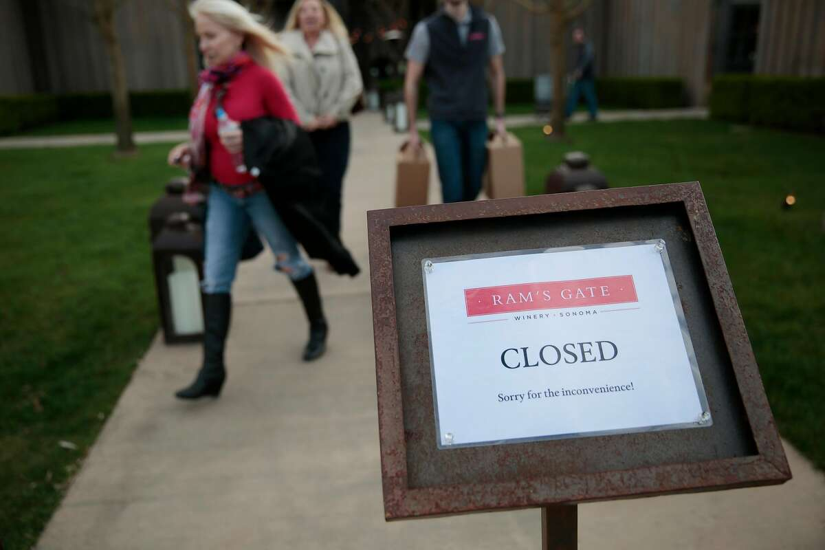 Customers leave Ram's Gate Winery in Sonoma on March 15, right after the first stay-at-home orders were announced in California. Sonoma County has just announced a order that will force wineries like Ram's Gate to close on Saturday.