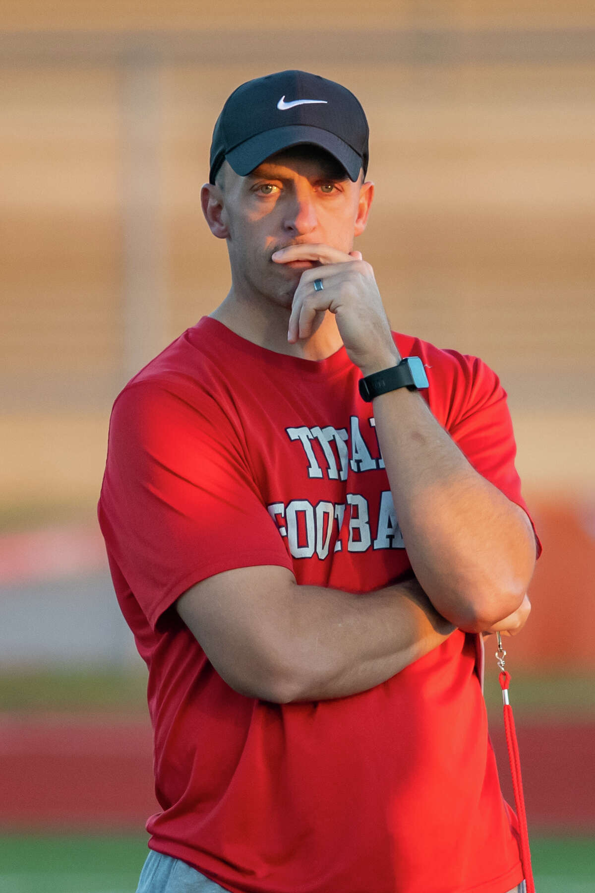 Titans Head Coach Brian Morgan. The Port Arthur Memorial Titans practice for their playoff game at the school on Thursday. Photo maed on December 10, 2020. Fran Ruchalski/The Enterprise