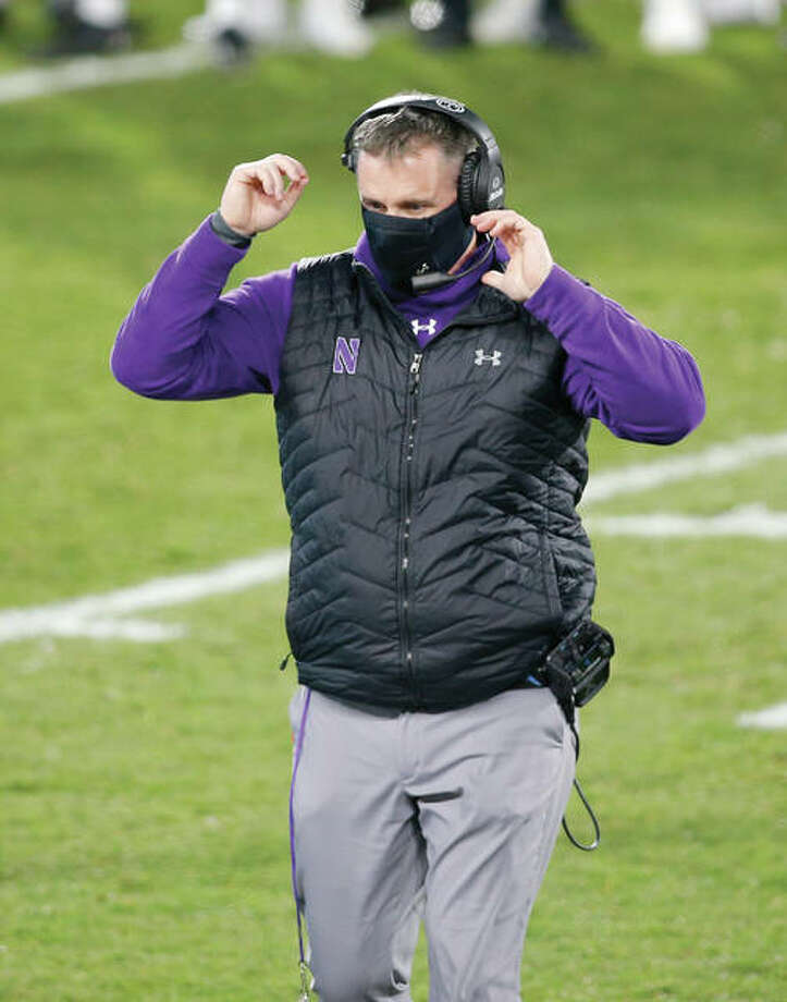 Northwestern coach Pat Fitzgerald walks on the field during the fourth quarter of the team's NCAA college football game against Michigan State, Saturday, Nov. 28, 2020, in East Lansing, Mich. Michigan State won 29-20. Photo: Al Goldis | Associated Press