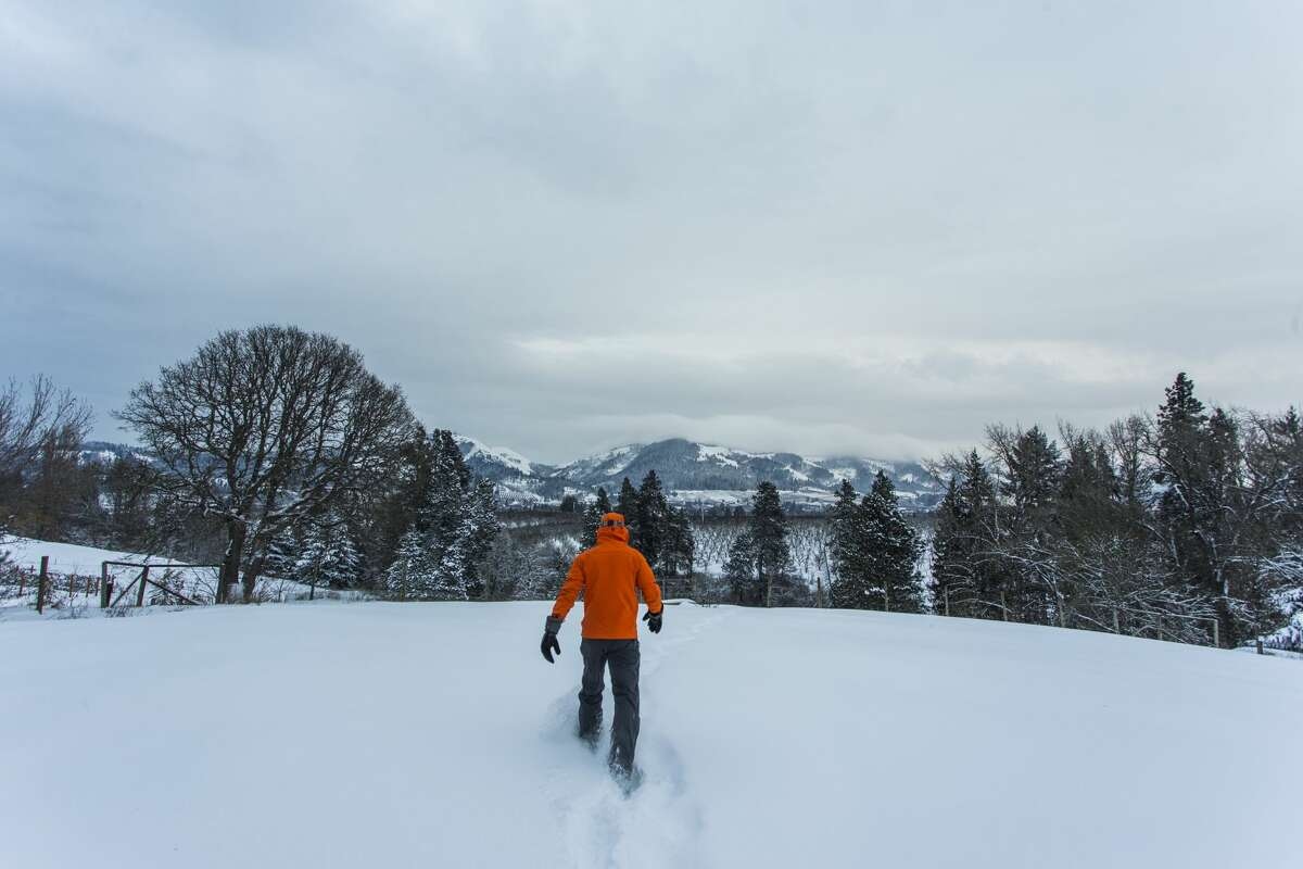 A young man walks through the snow at dusk in Hood River, OR.