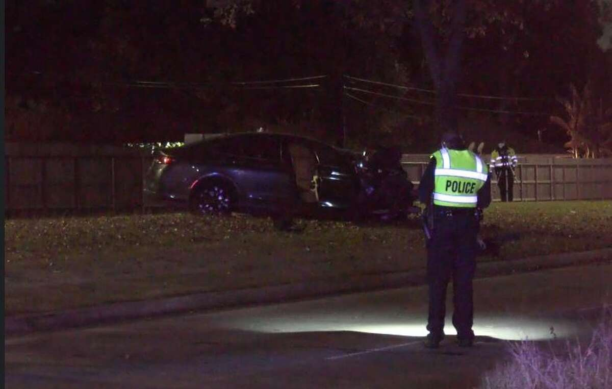 Officials investigating the scene of a fatal crash that happened around 10 p.m. Thursday at 901 W. Tidwell Road in north Houston.