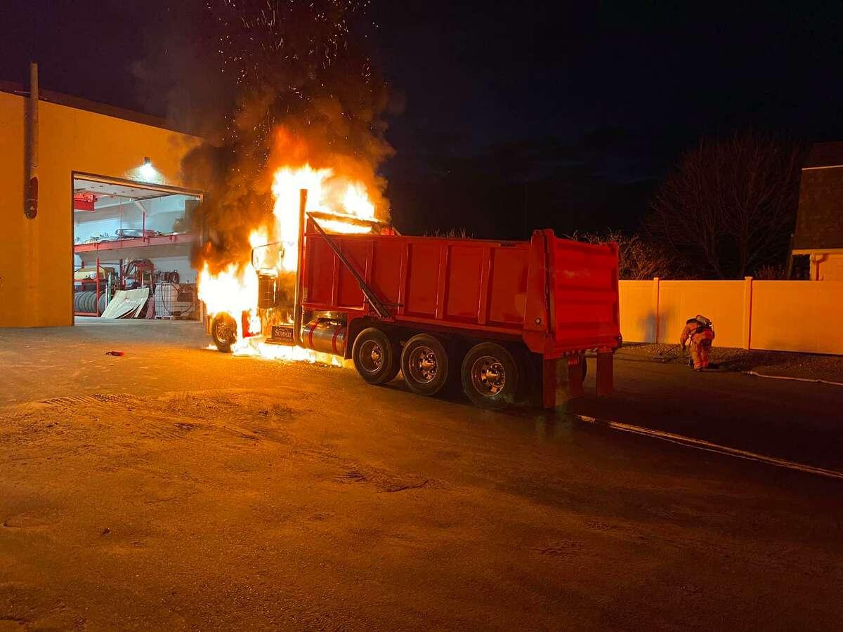 A truck fire in Milford, Conn., on Thursday, Dec. 10, 2020.