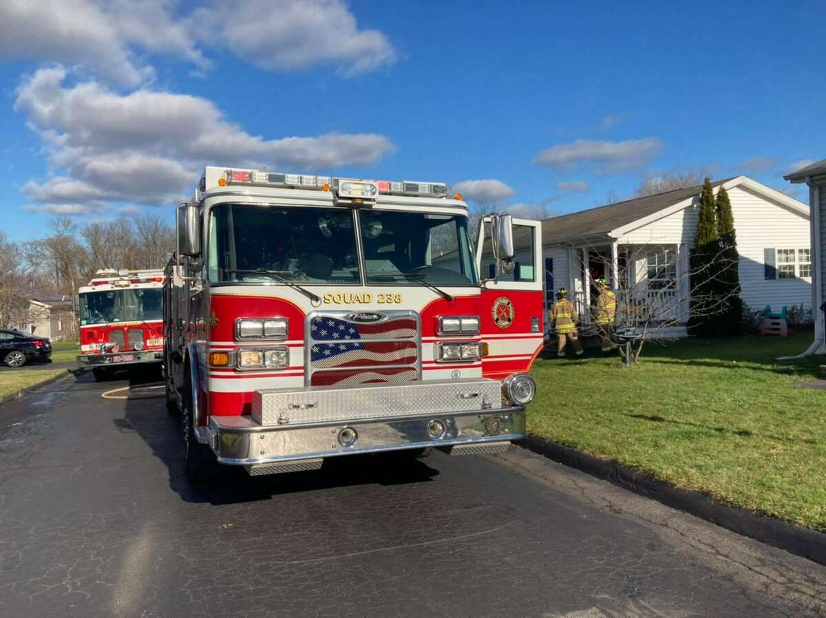 Units on scene for a fire on Rose Court in East Windsor, Conn., on Thursday, Dec. 10, 2020.