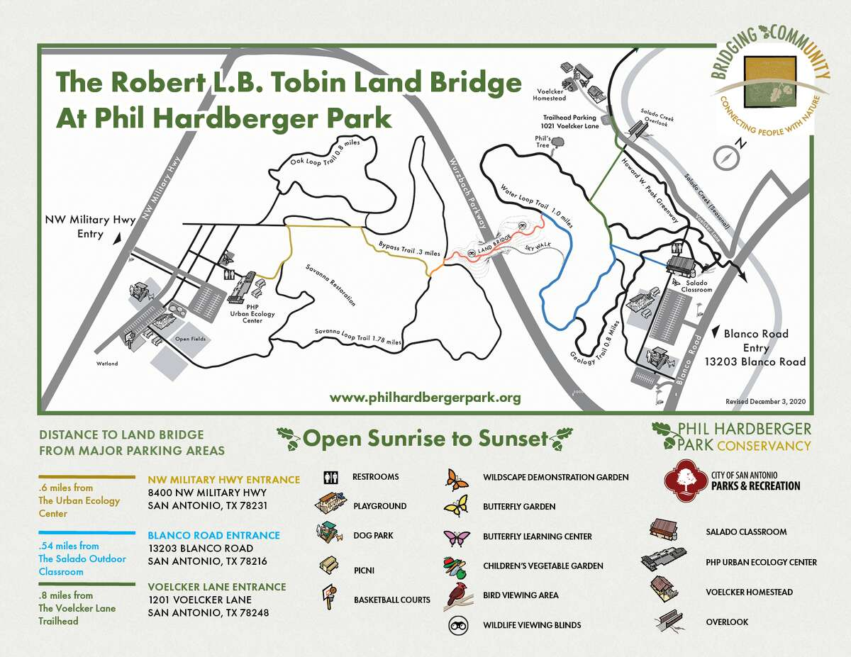 Visitors can access the bridge from the Northwest Military entrance at 8400 NW Military Highway via the Savanna Loop trail or from the Blanco Road entrance at 13202 Blanco Road via the Water Loop trail. The park is also accessible from the Salado Creek Parkway. Above is a map of the trails leading to the bridge.