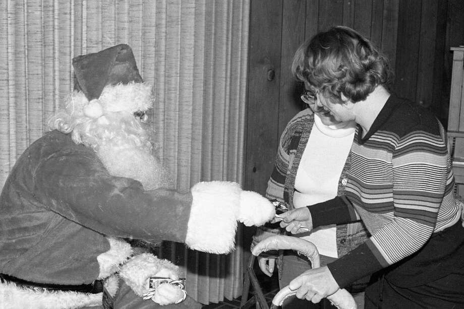 From 40 years ago today, Santa Claus was featured on the front page of the News Advocate. Jolly Ol' St. Nick was busy at the Elks Lodge having lunch with Manistee Intermediate School students. (Manistee County Historical Museum photo)