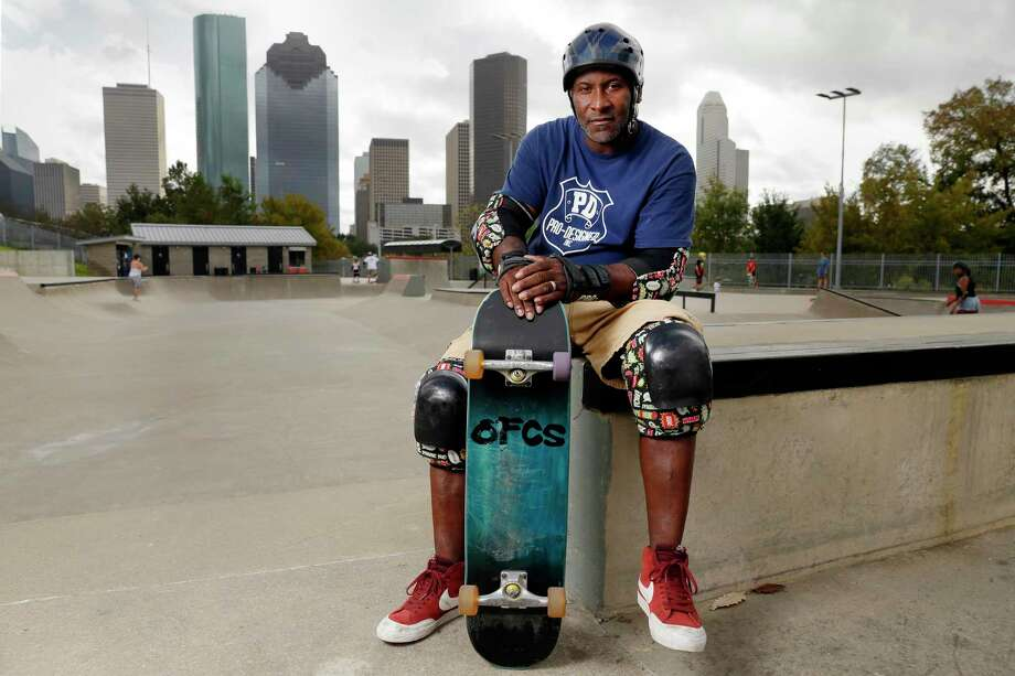 Derrick Hayes, a long time regular skater at the Lee and Joe Jamail Skate Park by the Buffalo Bayou Park, Saturday, Nov. 14, 2020 in Houston, TX. Photo: Michael Wyke / Contributor / © 2020 Houston Chronicle