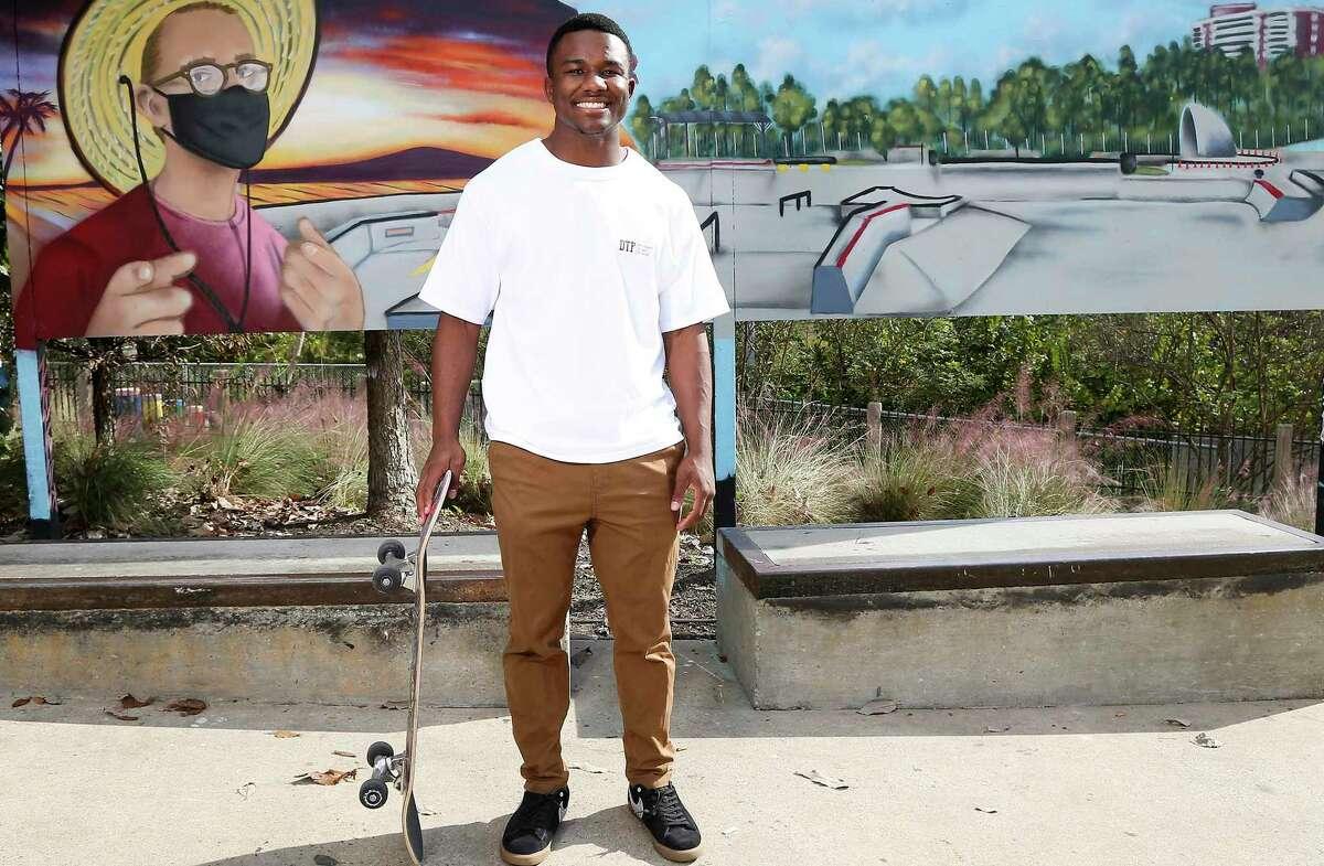 Ty'Rae Carter at the Lee and Joe Jamail Skatepark at Buffalo Bayou Park in Houston on Sunday, Nov. 8, 2020.
