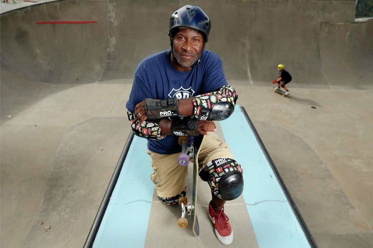 Derrick Hayes, a long time regular skater at the Lee and Joe Jamail Skate Park by the Buffalo Bayou Park, Saturday, Nov. 14, 2020 in Houston, TX.