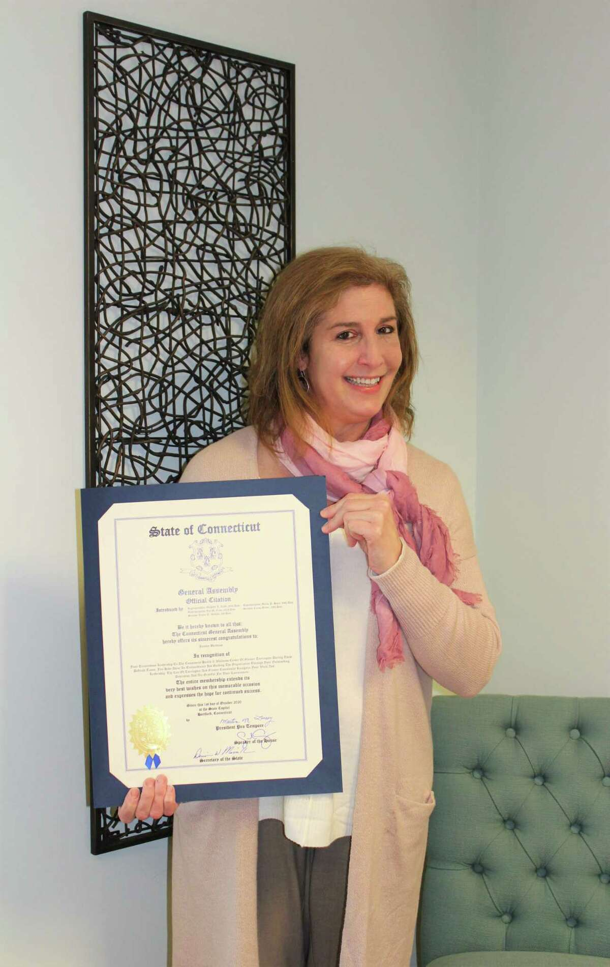 Joanne Borduas, CEO of Community Health and Wellness Center, recently received an Official Citation from the General Assembly of the State of Connecticut.