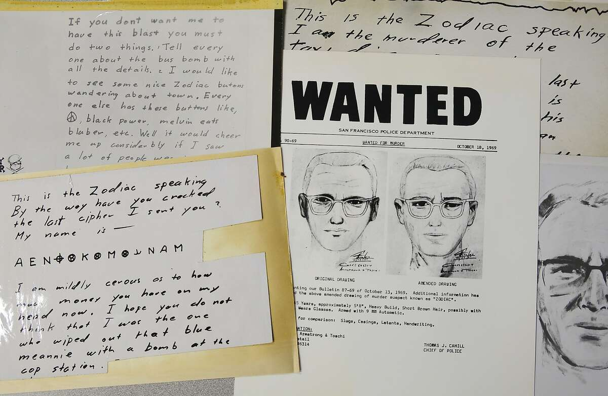 A San Francisco Police Department wanted bulletin and copies of letters sent to the San Francisco Chronicle by a man who called himself Zodiac are displayed Thursday, May 3, 2018, in San Francisco.