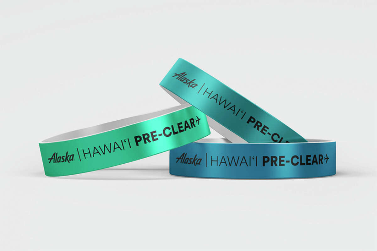 A wristband from Alaska Airlines' new pre-clearance program lets passengers avoid a COVID test result check upon arrival in Hawaii.