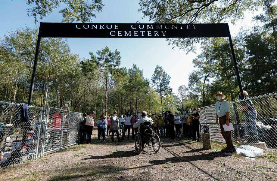 The Conroe Community Cemetery Restoration Project has lead efforts to restore the site, which dates back to the 1890s and includes emancipated slaves, railroad workers, saw mill workers and the only confirmed Buffalo Solider buried in Montgomery County. Photo: Jason Fochtman, Houston Chronicle / Staff Photographer / 2020 © Houston Chronicle