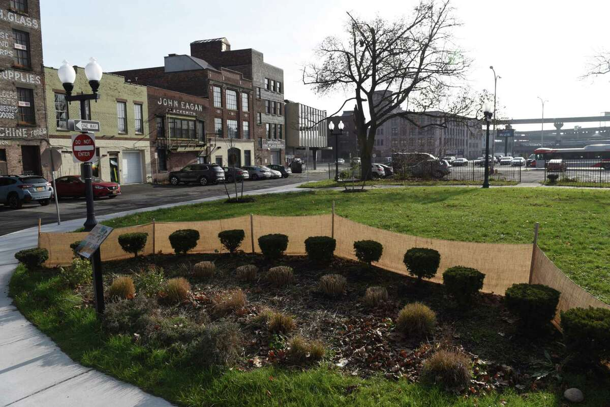 Liberty Park in Albany's so-called parking lot district is seen on Friday, Dec. 11, 2020, in Albany, N.Y. Hold-out owners of lots in the district say Capitalize Albany is trying to convince the city's IDA to take their land through eminent domain. (Will Waldron/Times Union)