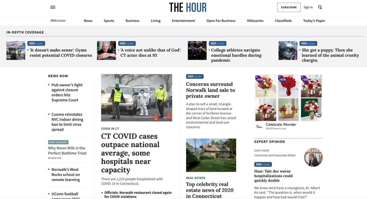 The new TheHour.com homepage.