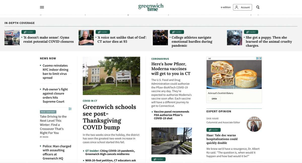 The new GreenwichTime.com homepage.