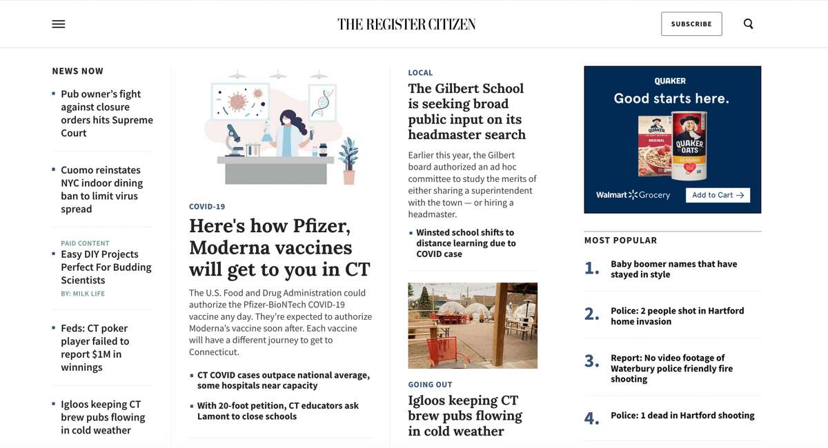 The new RegisterCitizen.com homepage.