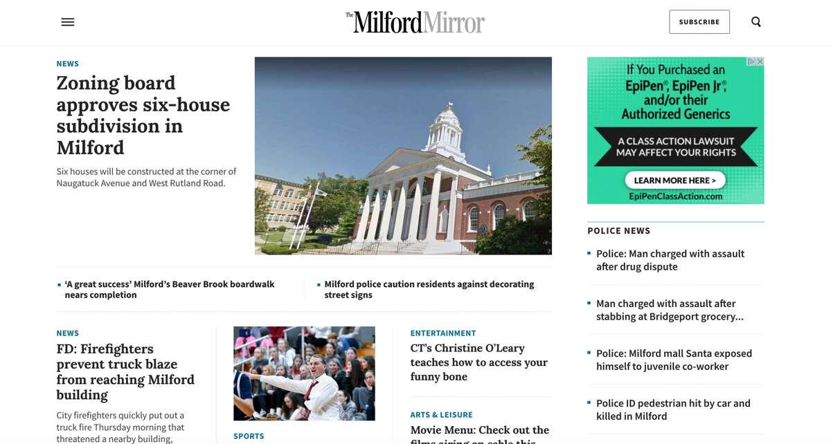 The new MilfordMirror.com homepage.