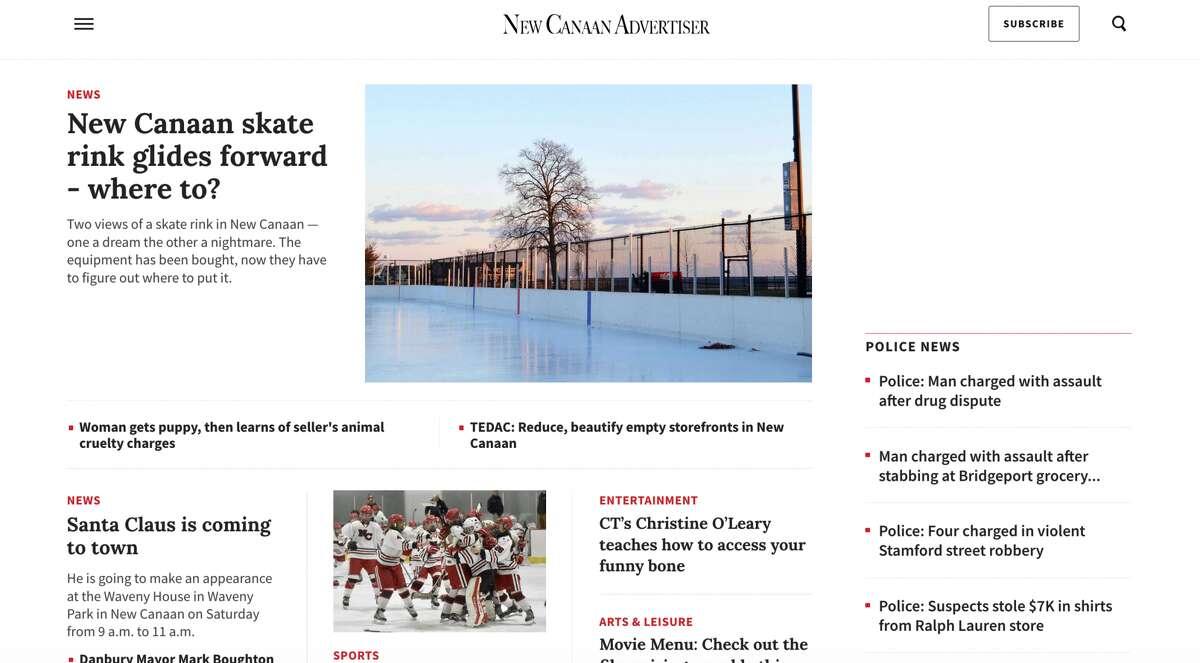 The new NewCanaanAdvertiser.com homepage.
