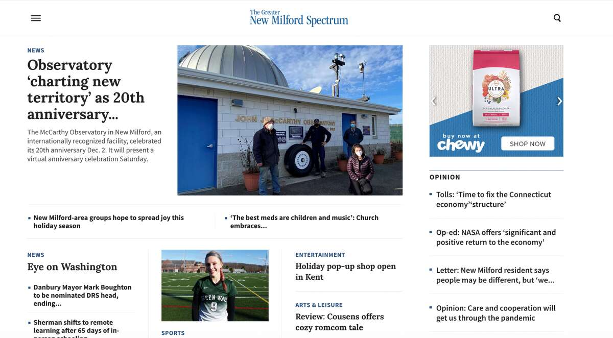 The new NewMilfordSpectrum.com homepage.