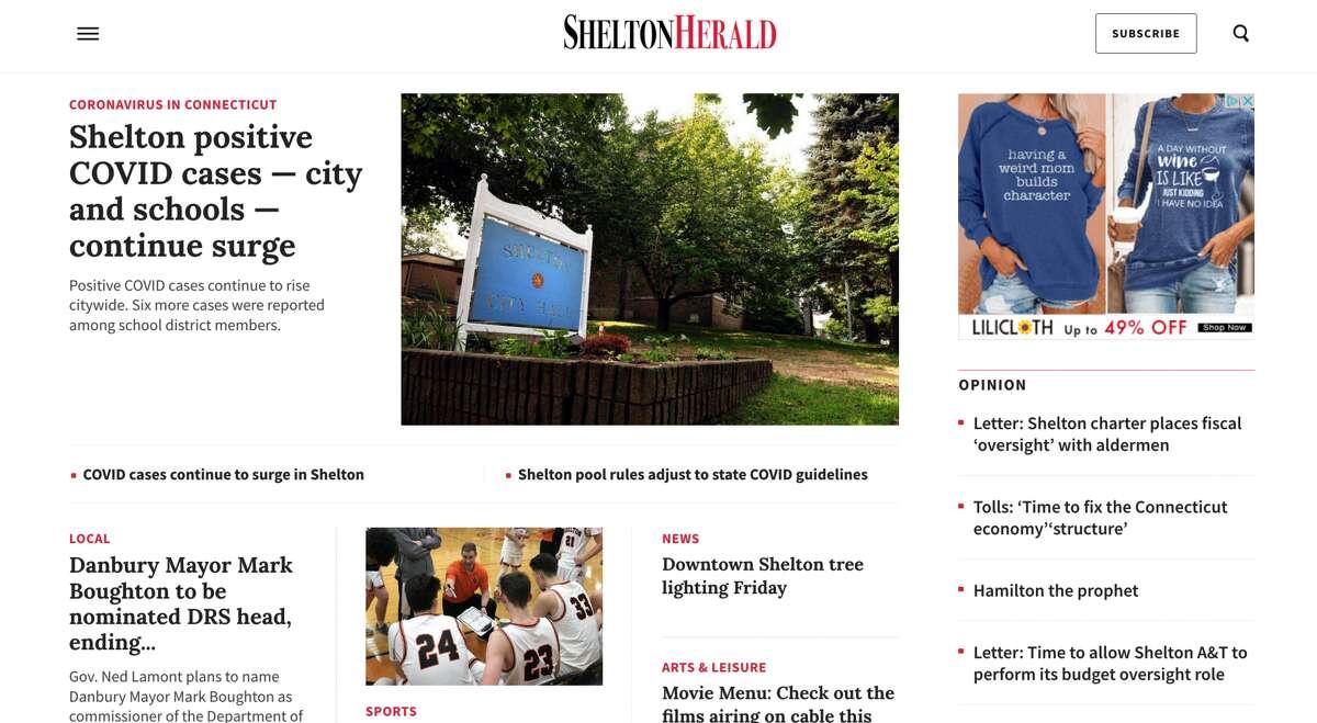 The new SheltonHerald.com homepage.
