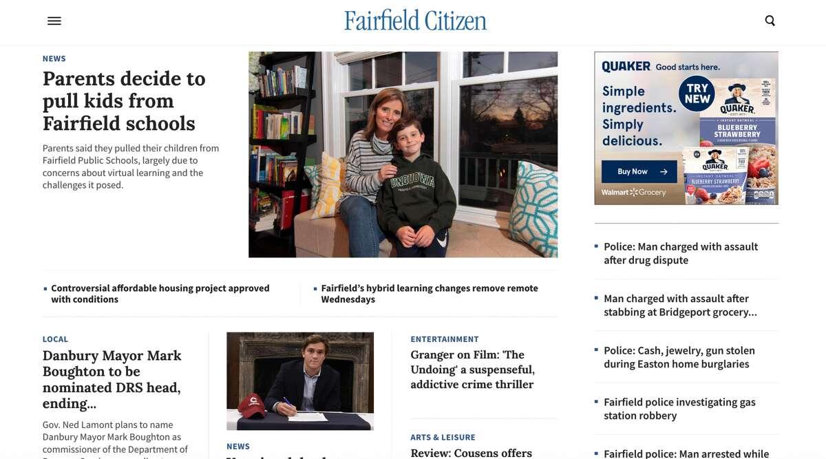The new FairfieldCitizenOnline.com homepage.