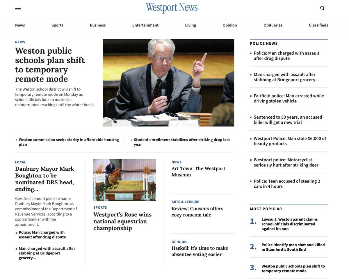 The homepage of the new Westport-News.com.