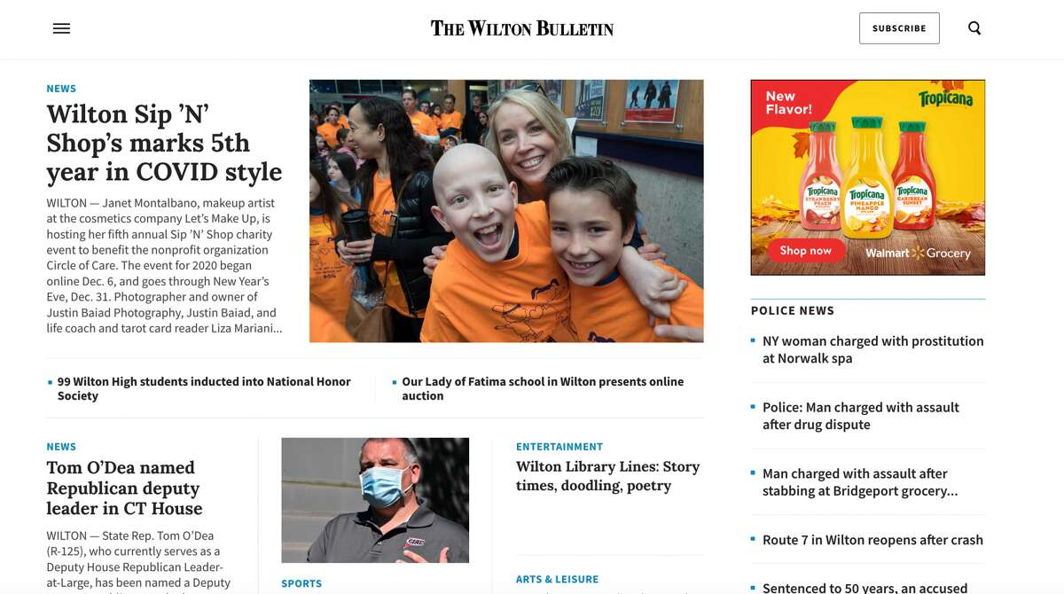 The new WiltonBulletin.com homepage.
