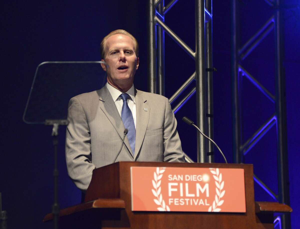 Mayor of San Diego Kevin Faulconer speaks at the opening night tribute at the San Diego Film Festival 2014 on Sept. 27, 2014, in San Diego, Calif.