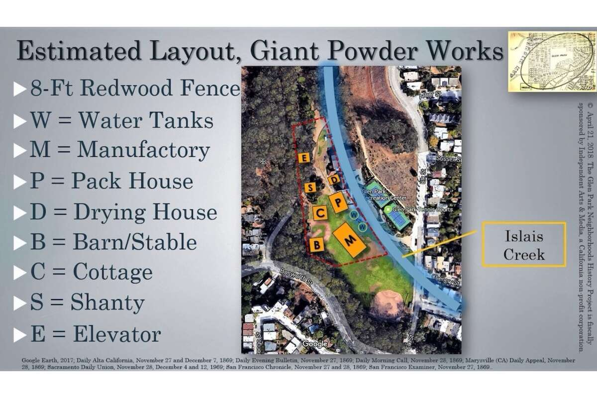 An estimate of the location of the facilities of Giant Powder Company, based on descriptions from various newspaper reports describing the explosion that occurred on Nov. 26, 1869.