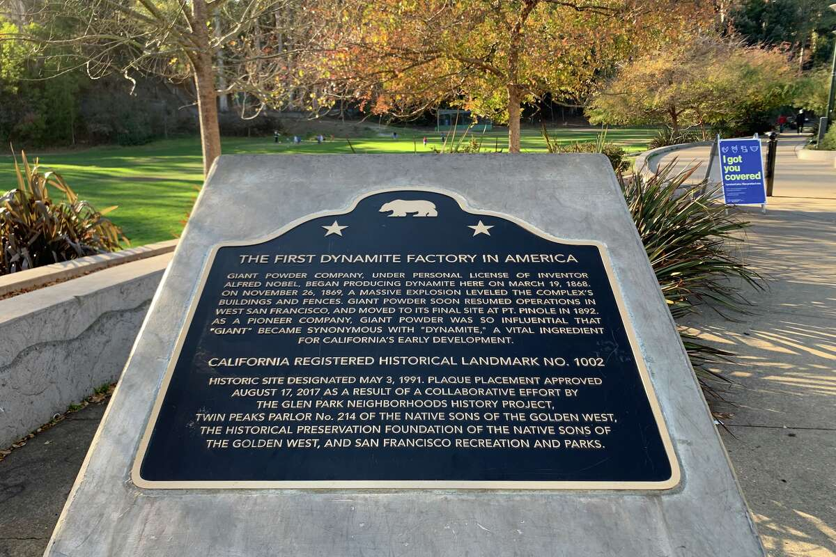 The original site of the first dynamite factory in the U.S. at Glen Park Canyon became California Historical Landmark No. 1002, recognized by the state of California in 1991.