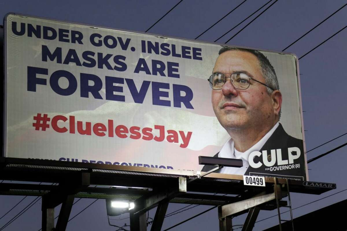 SEATTLE, UNITED STATES - 2020/10/31: An election billboard for Loren Culp, a Republican challenger for governor in the US state of Washington, is seen in Seattle. (Photo by Toby Scott/SOPA Images/LightRocket via Getty Images)