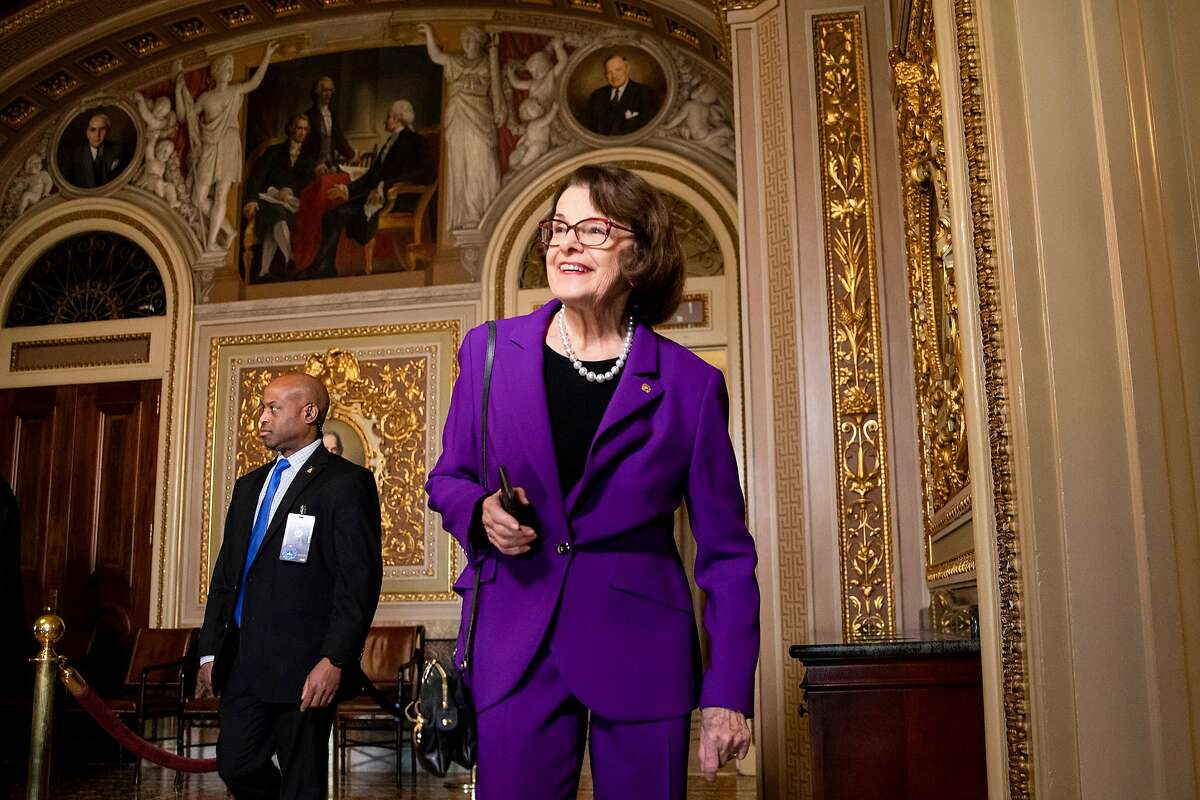 Sen. Dianne Feinstein, D-Calif., heads to the Senate floor for the impeachment trial of President Trump in January.