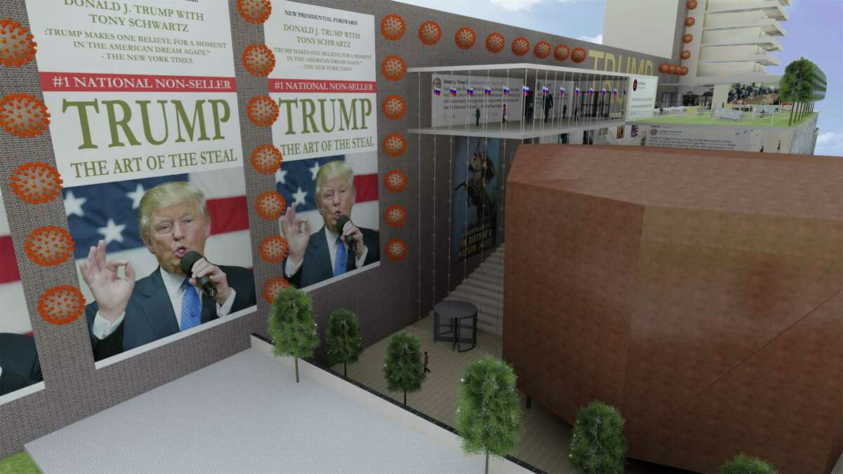 """A rendering by an anonymous architect of a fictional Trump Presidential Library shows the building's entry framed by depictions of the novel coronavirus and a take on Trump's """"Art of the Deal."""" (Photo courtesy of djtrumplibrary.com)"""