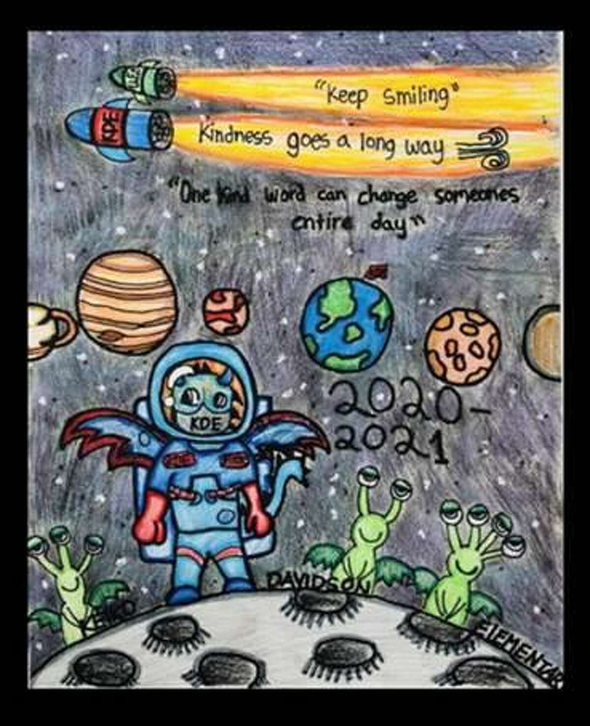 """Davidson Elementary fifth grader Nico Colosio's drawing, """"One Kind Word Can Change Someone's Entire Day,"""" is part of more than 500 artworks created by Katy Independent School District students and available to view in the district's Virtual Student Art Gallery."""