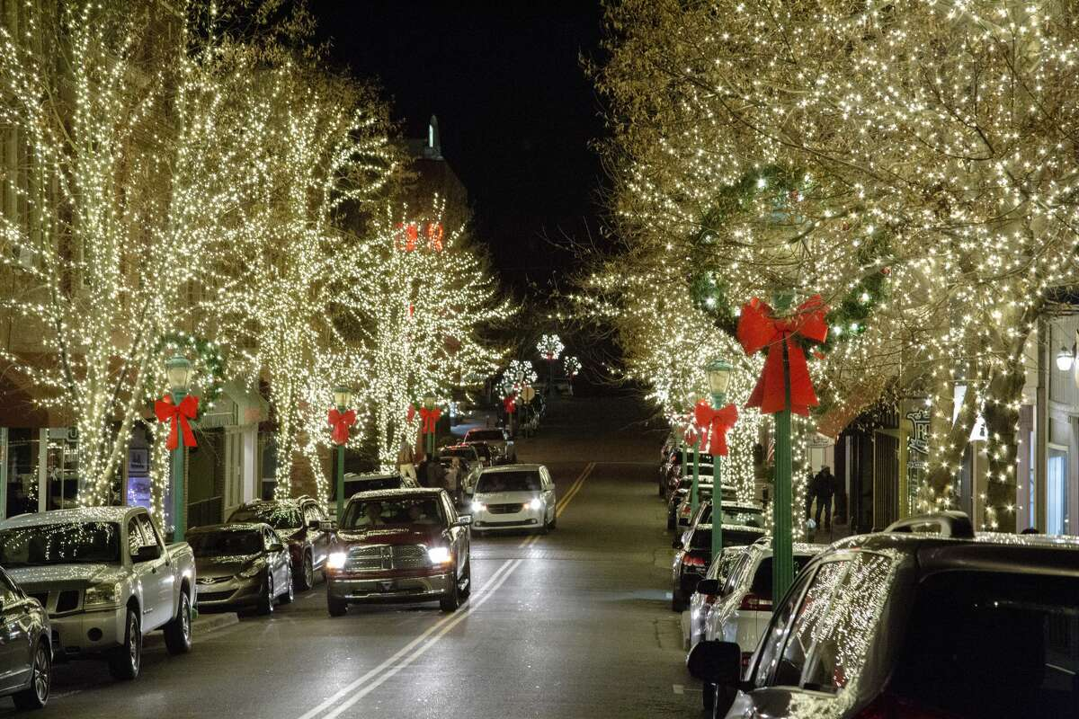 The town of Clarksville lit up for the holiday season.