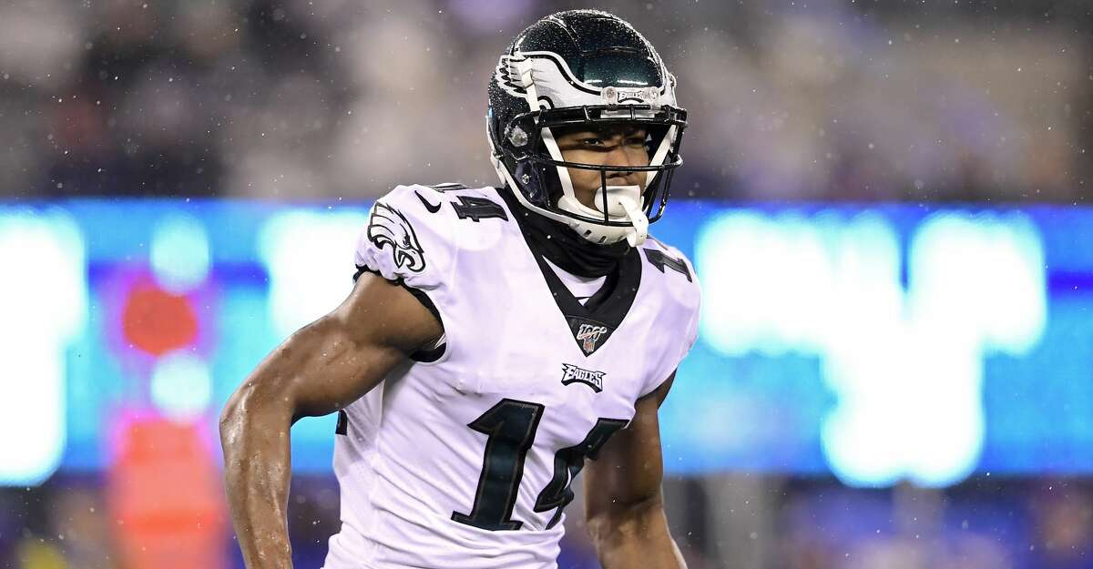Robert Davis #14 of the Philadelphia Eagles looks on against the New York Giants at MetLife Stadium on December 29, 2019 in East Rutherford, New Jersey. (Photo by Steven Ryan/Getty Images)