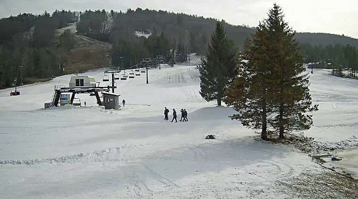 Thanks to five nights of ideal snowmaking weather, Mohawk Mountain in Cornwall will kick off its season this weekend. This was the view of of its ski trails around noon on Friday, Dec. 11, 2020. All ski areas in the Northerast will have COVID-19 restrictions in place all season.