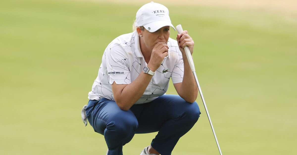 Cristie Kerr of the United States lines up a putt on the first green during the second round of the 75th U.S. Women's Open Championship at Champions Golf Club on December 11, 2020 in Houston, Texas. (Photo by Jamie Squire/Getty Images)