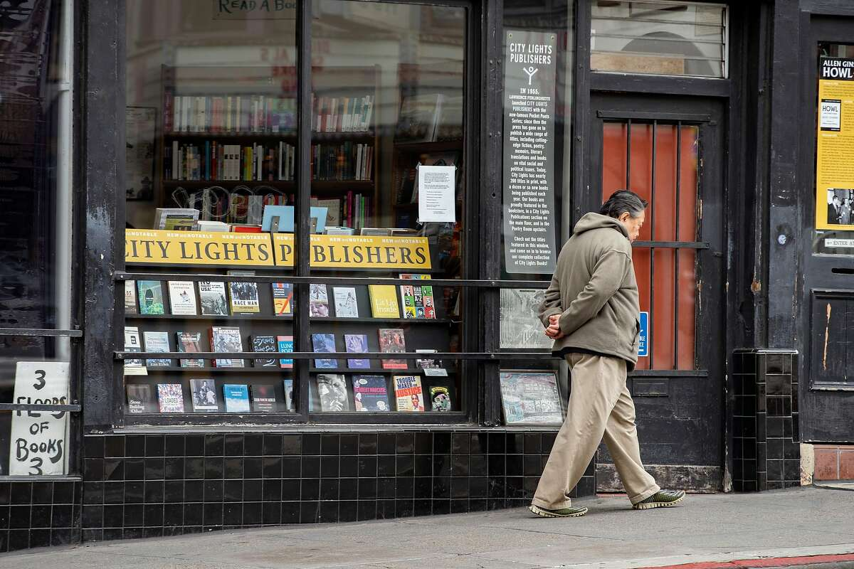 City Lights Bookstore on Saturday, March 28, 2020, in San Francisco, Calif. The store was closed in the early months of the coronavirus pandemic.