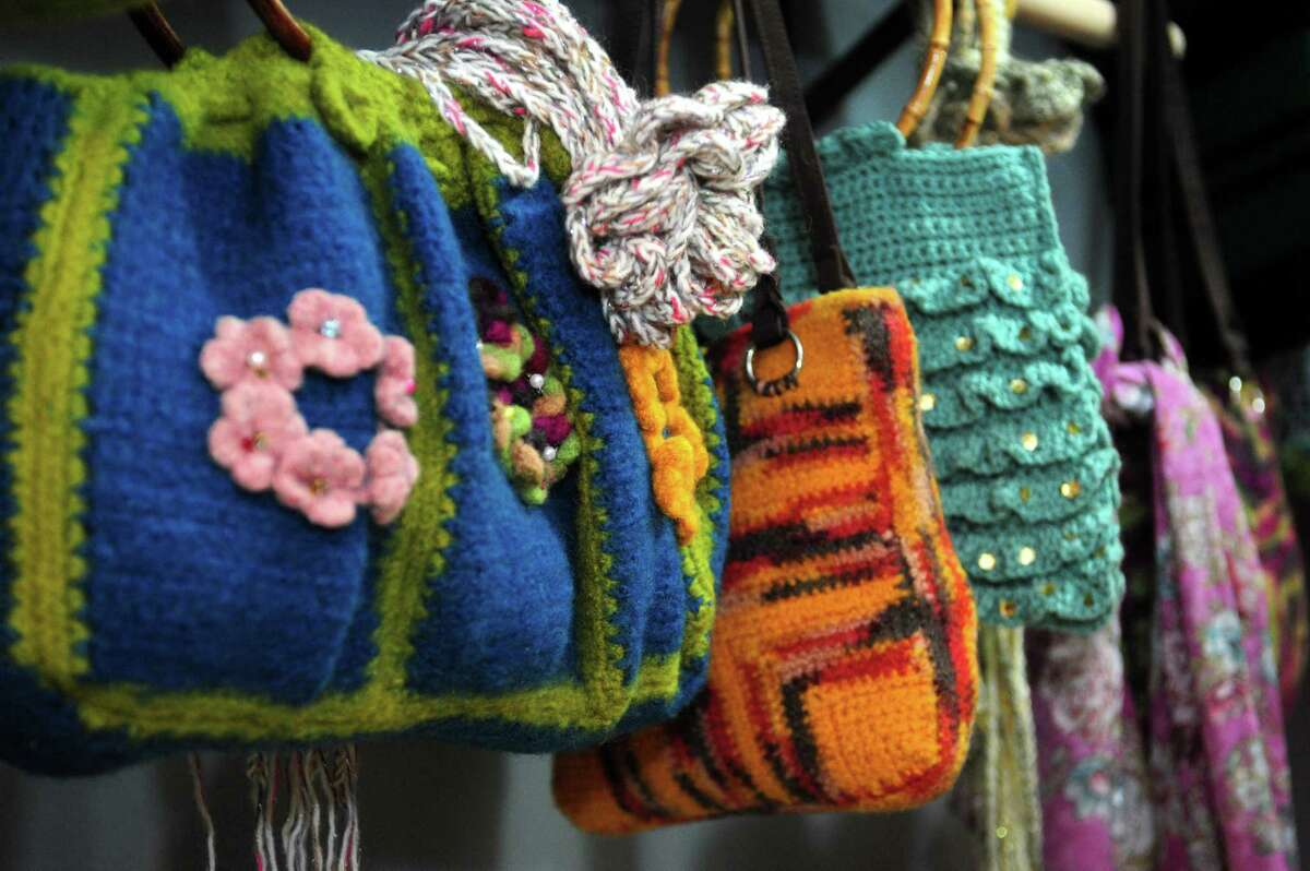 Jean Smith offers crochet supplies and handmade apparel in her new shop, Jean's Closet, Tuesday, March 20, 2018, off Washington St. in South Norwalk, Conn. Jean's Closet also offers craft parties and workshops in crochet and needlepoint.