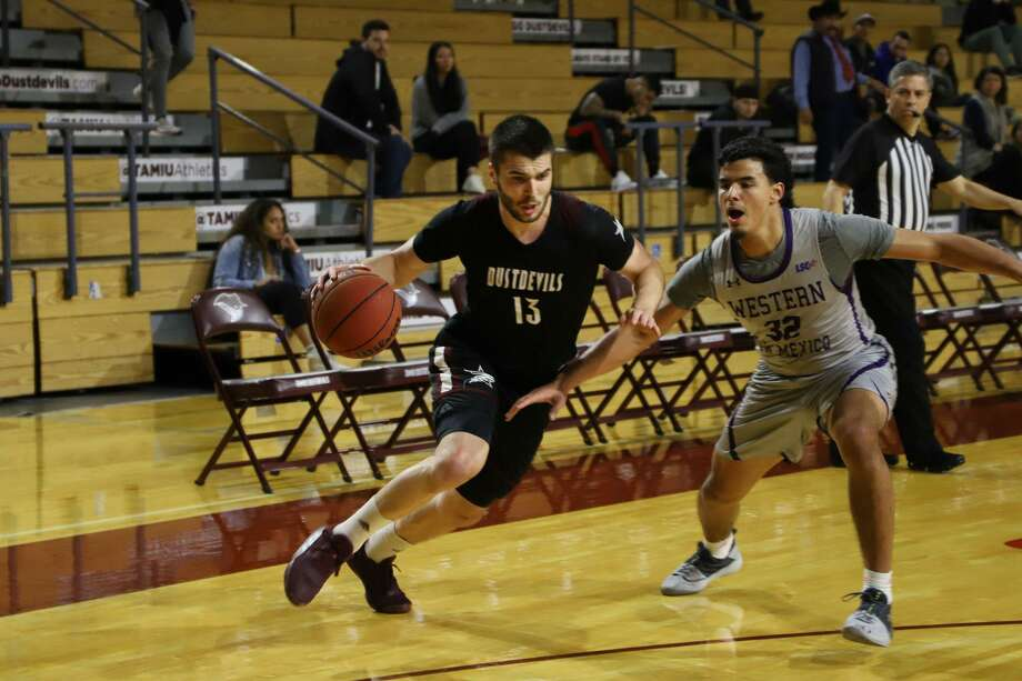 Matija Novkovic and TAMIU lost 87-59 in their season opener at St. Edward's. Photo: Courtesy /TAMIU Athletics, File