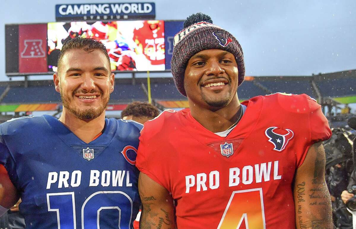 Deshaun Watson, right, and Mitchell Trubisky both played in the Pro Bowl after the 2018 season. But when the Texans and Bears meet Sunday in Chicago, they'll be at very different stages in their careers after both being taken in the first round of the 2017 draft - Trubisky second overall and Watson at 12th.