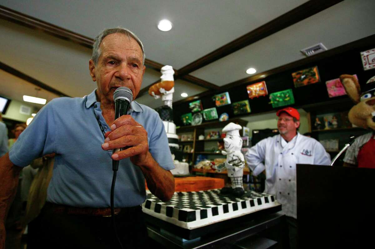 Sigmund Jucker, one of the original founding brothers of Three Brothers Bakery, makes a speech during the grand reopening celebration of Three Brothers Bakery Wednesday, July 1, 2009, in Houston. The bakery was closed after Hurricane Ike damaged the store.