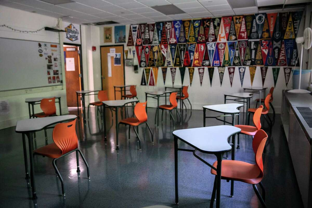 Classroom desks sit socially-distanced ahead of the return of students on August 26, 2020 in Stamford, Connecticut.