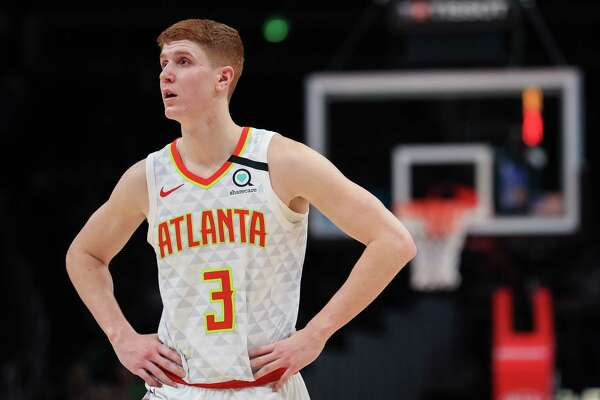 ATLANTA, GA - FEBRUARY 3: Kevin Huerter #3 of the Atlanta Hawks looks on during the fourth quarter of a game against the Boston Celtics at State Farm Arena on February 3, 2020 in Atlanta, Georgia. NOTE TO USER: User expressly acknowledges and agrees that, by downloading and or using this photograph, User is consenting to the terms and conditions of the Getty Images License Agreement.
